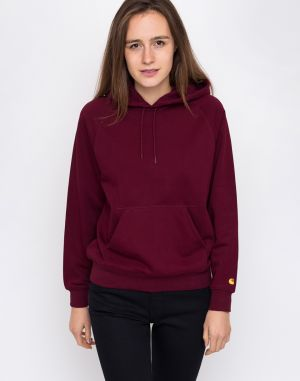 Carhartt WIP Hooded Chase Sweat Mulberry / Gold