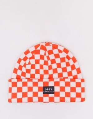 Obey Vernon Check Beanie Orange Multi