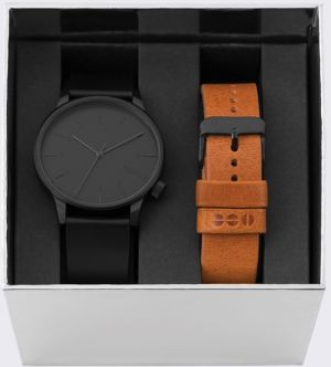 Komono Winston All Black + Cognac Strap