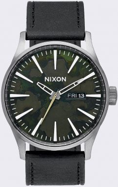 Nixon Sentry Leather Gun Metal/Green Oxyde