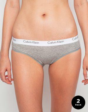 f31463c39 Calvin Klein sivé nohavičky s bielou širokou gumou Bikini značky ...