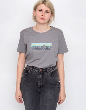 Patagonia Pastel P-6 Logo Organic Crew T-Shirt Feather Grey