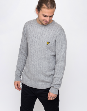 Lyle & Scott Cable D24 Light Grey Marl
