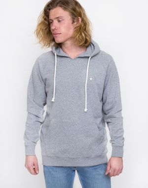 Knowledge Cotton Hood Kangaroo Sweat with Owl Badge 1012 Grey Melange