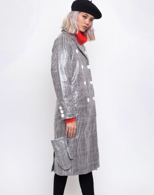 House of Sunny Long Tailored Nostalgia Trench Controlled Check