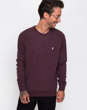 Knowledge Cotton Basic Sweat 1258 Decadent Choklade melange