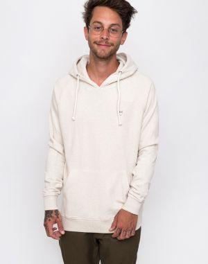 Knowledge Cotton Hood Kangaroo Sweat With Owl Badge 1229 White melange