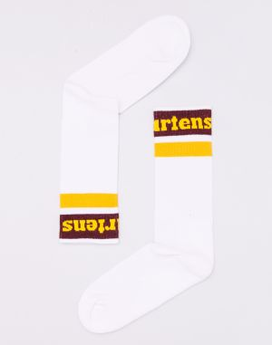 Dr. Martens Athletic Logo Sock White/ Cherry Red/ Yellow
