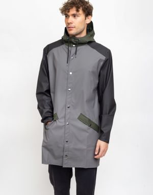 Rains Color Block Long Jacket Charcoal/Black