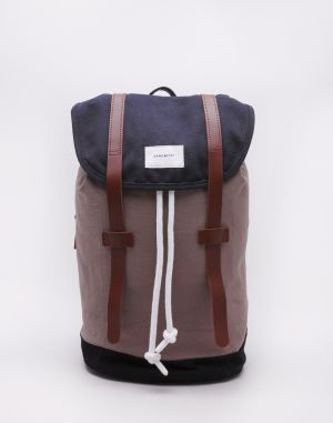 Sandqvist Stig Multi Navy / Earth Brown / Black with Cognac Brown Leather
