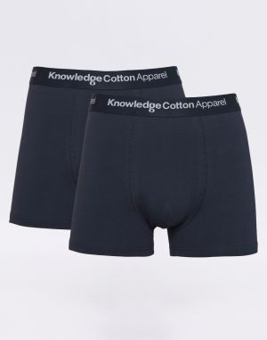 Knowledge Cotton 2 Pack Solid Colored Underwear With Navy Elastic 1001 Total Eclipse