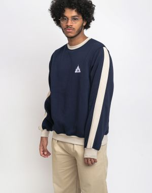 North Hill Colorblock Crewneck Fleece Navy/Beige