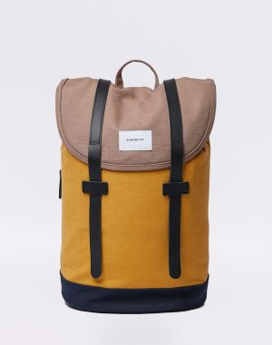 Sandqvist Stig Multi Earth Brown / Honey Yellow / Navy with Natural Leather Malé (do 20 litrov)
