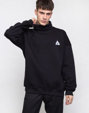 North Hill Black Logo Turtleneck Black