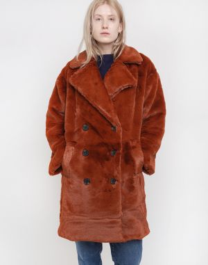 Native Youth The Casja Faux Fur Coat Rust