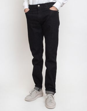 Knowledge Cotton Ash Tapered Slim Black Rinse Stretched Selvedge Denim 3042 Black Rinse W34/L34