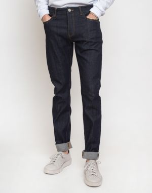 Knowledge Cotton Ash Tapered Slim Raw Blue Stretched Selvedge Denim 3039 Blue Raw W34/L34
