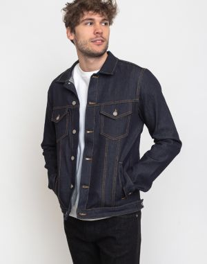 Knowledge Cotton Fry Raw Blue Stretched Selvedge Denim Jacket 3039 Blue Raw