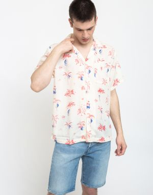 Dedicated Shirt Short Sleeve Marstrand Monkey Trees Off-White
