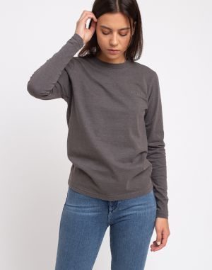 Han Kjøbenhavn Casual Tee Long Sleeve Dark Grey Logo
