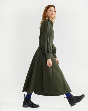 Thinking MU Green Freya Dress Dark Green