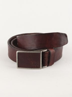 Opasok Lee Square Buckle Belt Dark Brown Hnedá