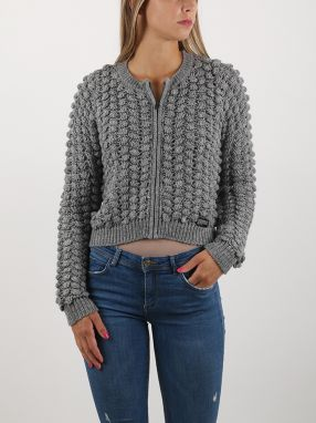 Sveter Superdry BOBBLE STITCH ZIP UP BOMBER KN Šedá