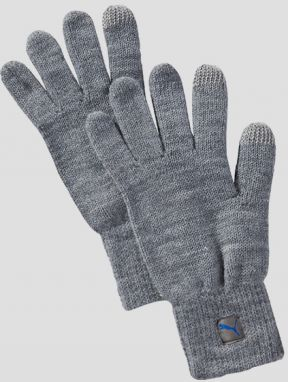 Rukavice Puma Big Cat Knit Gloves Light Gray Heat Šedá