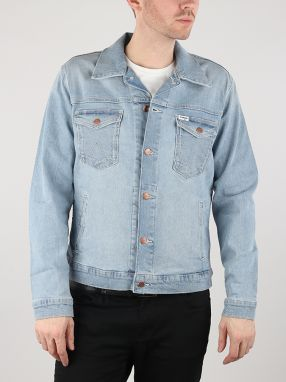 Bunda Wrangler Regular Jacket Mid Bleach Modrá