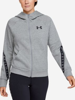 Mikina Under Armour Fleece Taped Wm Fz Hoodie Šedá