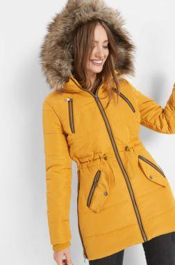 Žltá zimná prešívaná bunda s vysokým golierom Dorothy Perkins značky ... b4748c4a240