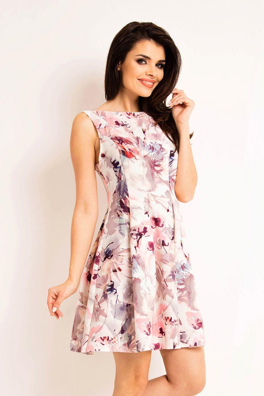 9ee79ee160a2 Bielo-ružové kvetované šaty A165 značky Awama - Lovely.sk