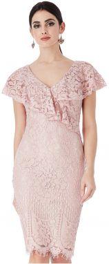 5349804773f9 Pudrovo ružové šaty s bielym golierikom Goddiva značky Goddiva ...