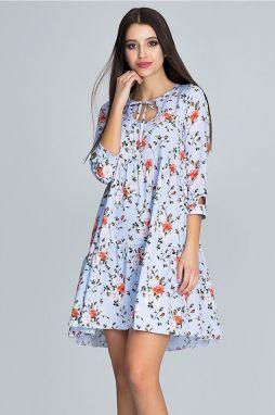 3ec07877b9e8 Svetlomodré kvetované šaty M598
