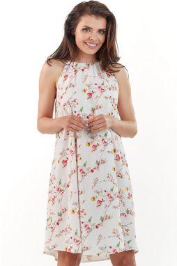 f8a3db1a1 Smotanové-kvetované šaty M175