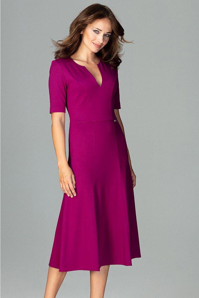 e4aaaba8e402 Fuchsiové šaty K478 značky Katrus - Lovely.sk