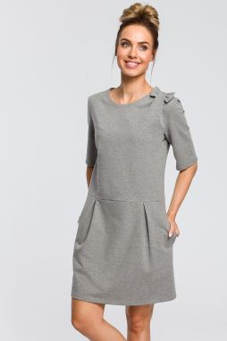 1457c292aec1 Štýlové sivé šaty s viazaním okolo pásu značky Fasardi - Lovely.sk