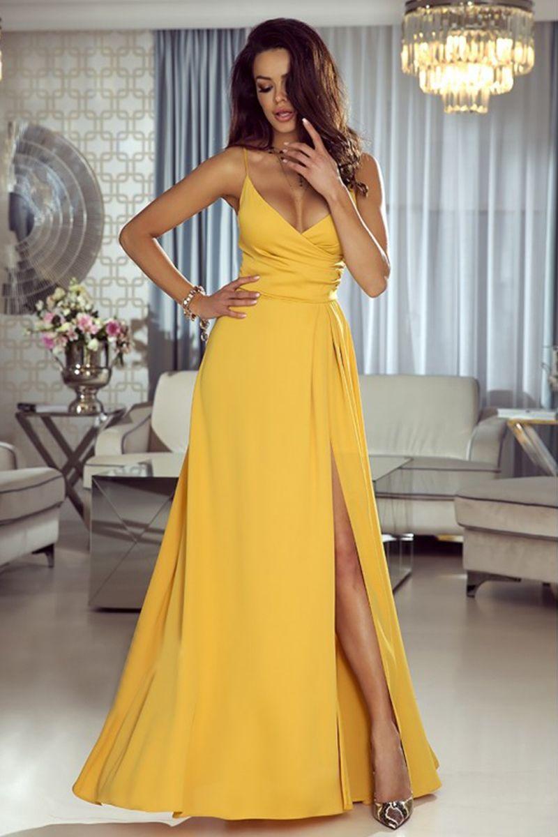38b1bbdf4ff0 Žlté dlhé šaty Lisa značky EMO - Lovely.sk