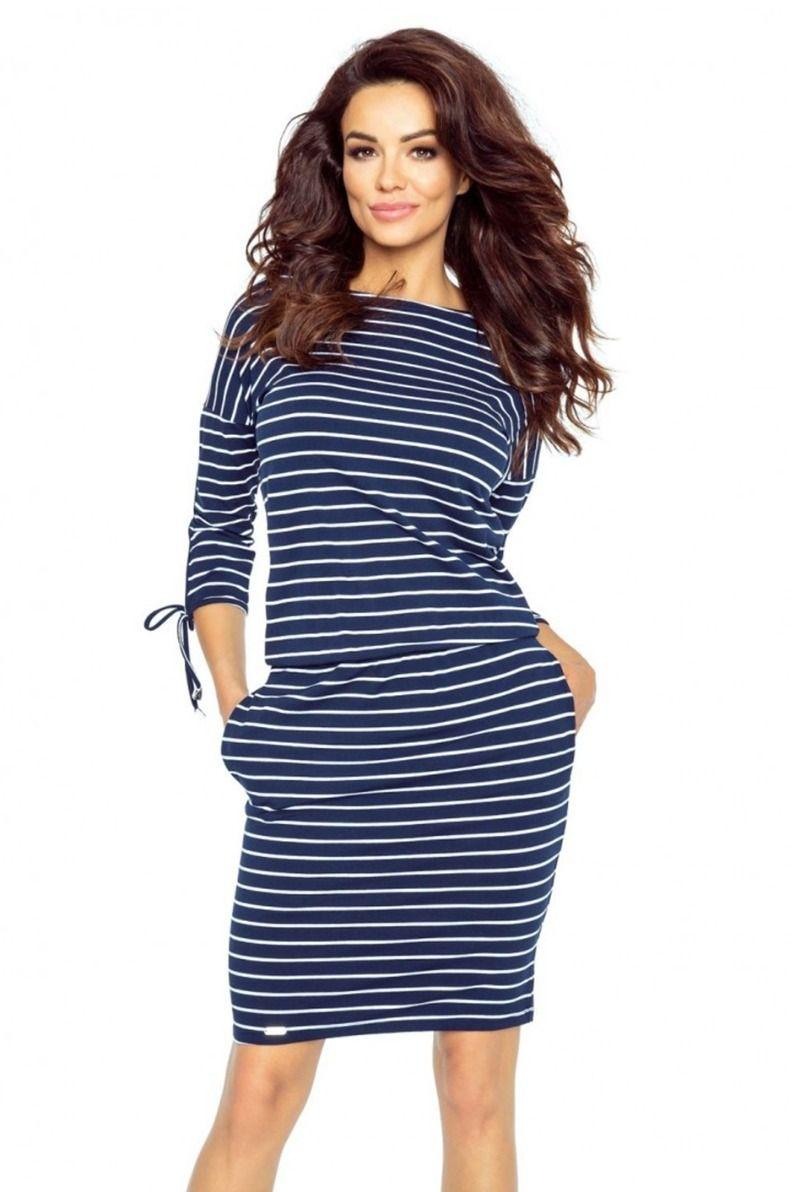 356784404b Modro-biele pásikavé šaty Venus značky Bergamo - Lovely.sk