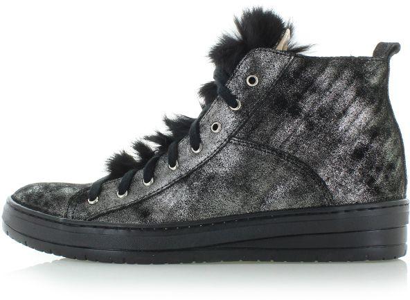 15e4c07675 Čierno-strieborné kožené členkové tenisky Mona značky Olivia Shoes ...