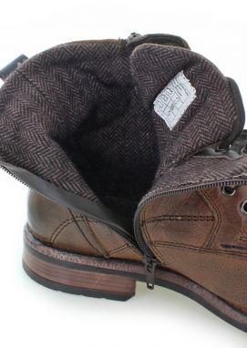 e43203014f Pánske škoricové kožené členkové topánky 5889303 značky Tom Tailor ...
