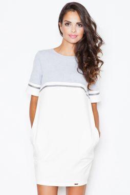 b4fe7a00c8be Sivo-smotanové šaty M400
