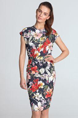 db76a3d95e64 Tmavomodré kvetované šaty S120