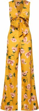 Missguided Overal 'FLORAL TIE FRONT CUT OUT JUMPSUIT'  žlté