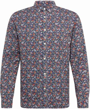 KnowledgeCotton Apparel Košeľa 'AOP flower printed shirt '  tmavomodrá