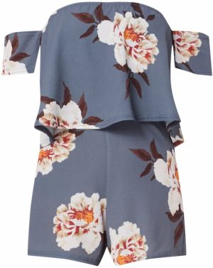 Missguided Overal 'GREY FLORAL BARDOT PLAYSUIT'  sivá