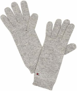 TOMMY HILFIGER Prstové rukavice 'FLAG KNIT GLOVES'  sivá