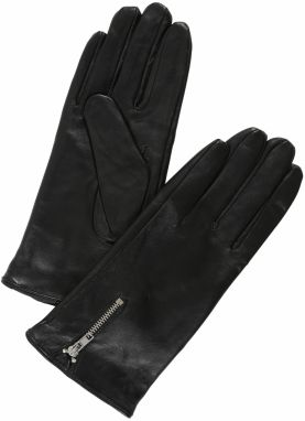 VERO MODA Prstové rukavice 'FINNA LEATHER GLOVES BOOS'  čierna