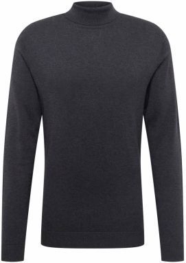 SELECTED HOMME Sveter 'TOWER COT/SILK ROLL NECK B'  antracitová