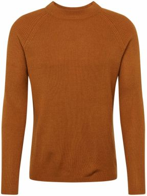 BURTON MENSWEAR LONDON Sveter 'FISHERMAN MUSTARD'  hnedá